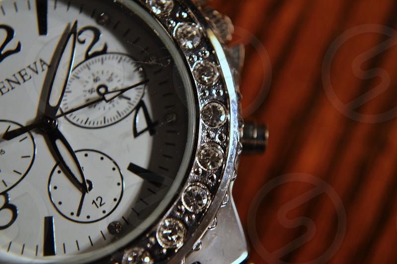 silver geneva diamond watch photo