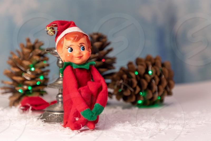 Vintage Christmas Elf Knee Huggar Tree Ornament photo