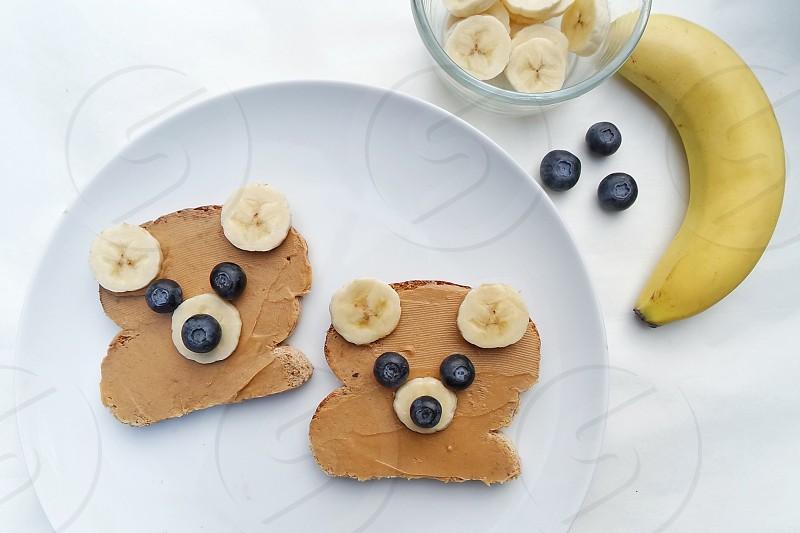 #toast #peanut butter #blueberry #banana #bread #snack photo