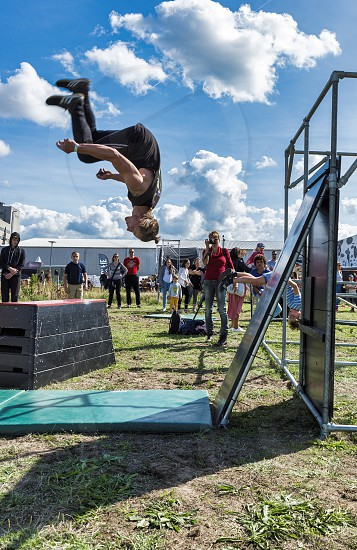 RotterdamHolland15-sept-2018:Boy during pow wow festival doing a free run saltoPOW! WOW!Festival is the best known street art festival in the world. And now its in Rotterdam photo