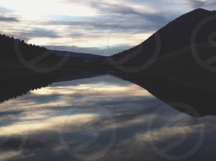 Lake reflection in Colorado.  photo