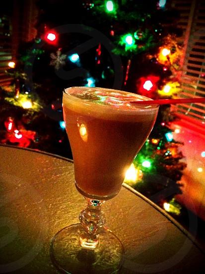 Irish coffee and a Christmas tree.  photo