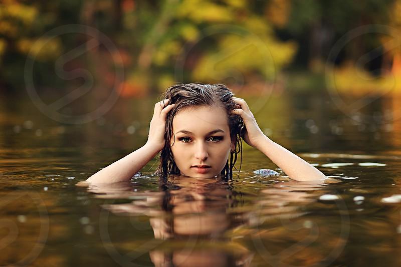 woman swimming photo