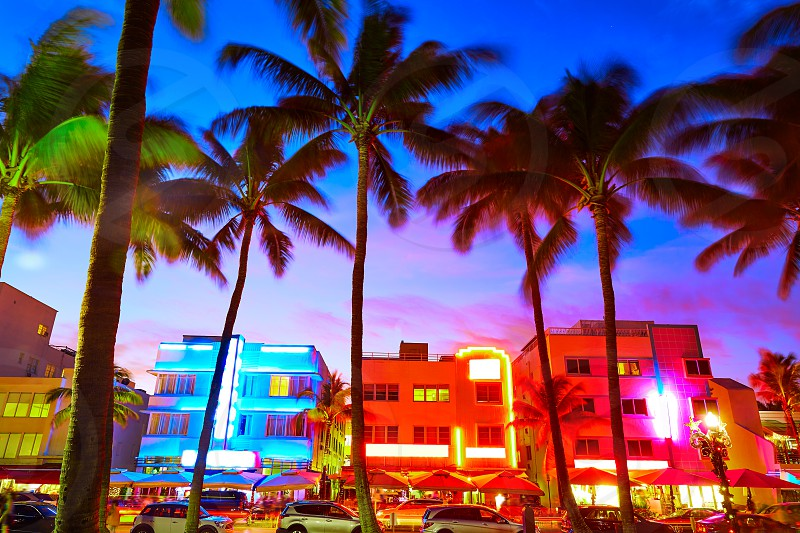 Miami Beach South Beach sunset in Ocean Drive Florida Art Deco photo