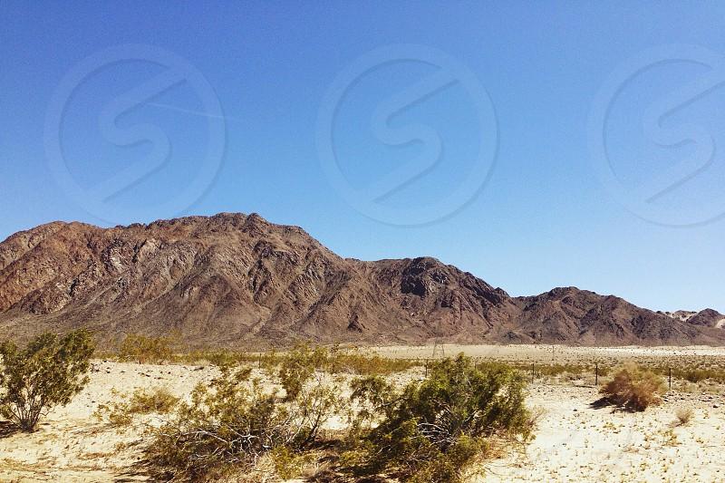 mountain range scene in desert photo