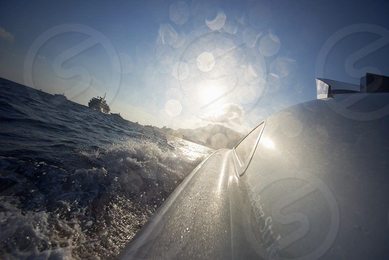 On board of a luxury designer speed boat in the port of Monaco in summer sunshine photo