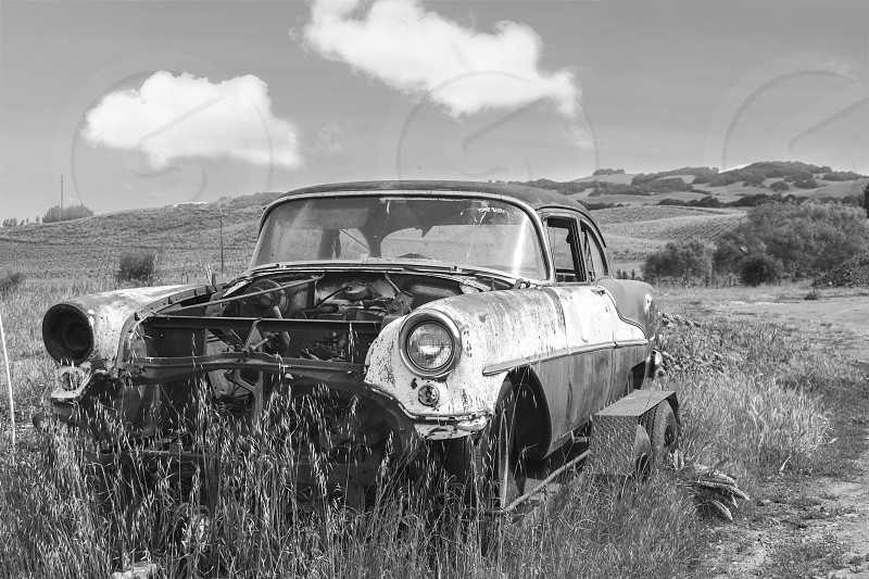 Chevrolet Bel Air SonomaCA California B&W Black & White Car Field photo