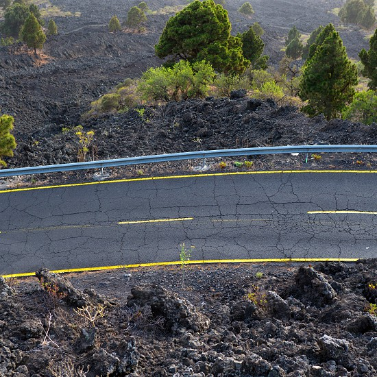 La Palma road detail in volcanic lava landscape at Canary Islands photo
