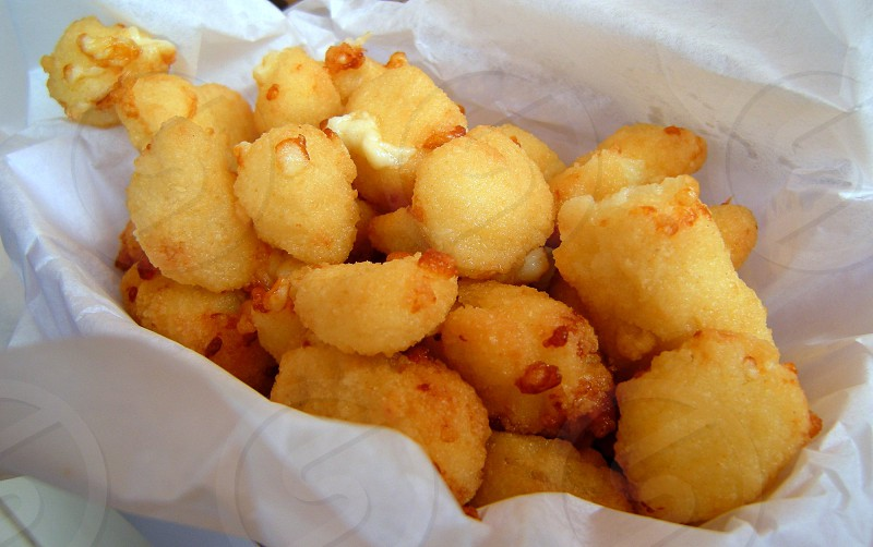 Fried cheese curds in wax paper lined paper boat photo