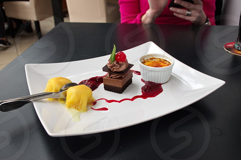 Dessert on the table photo