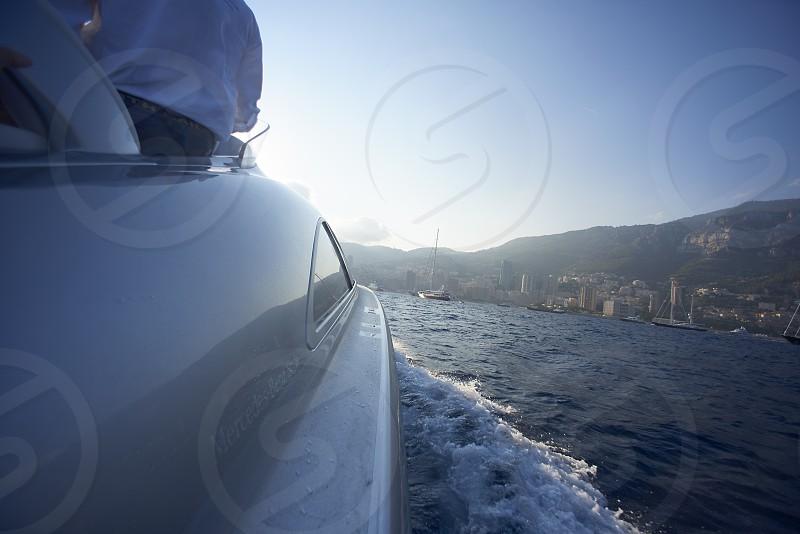 Luxury yachts ans speedboats shot in Monaco during summer photo