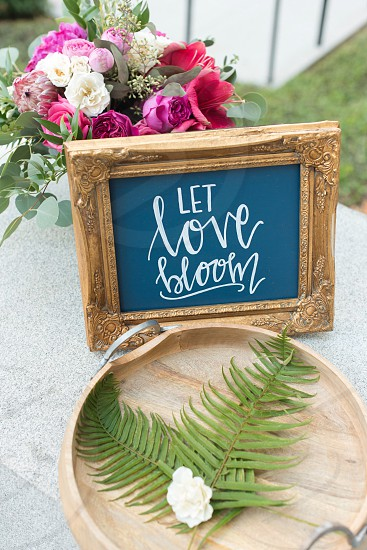 Decor wedding sign frame flowers bloom chalk writing foliage  photo