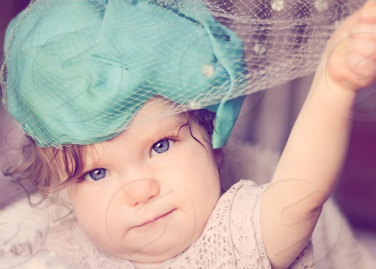 Baby Girl in Vintage Hat: Birdcage Veil Teal Blue eyes photo