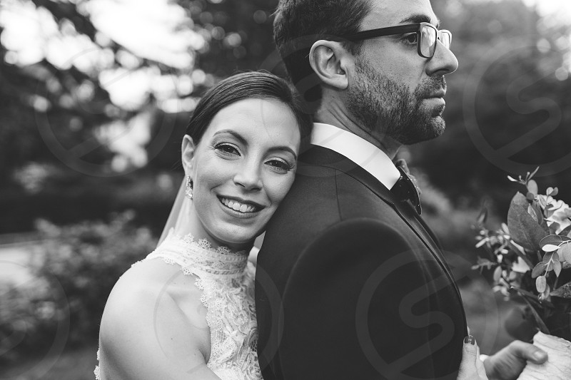 Bride and groom black and white  close up portrait wedding photo