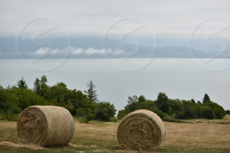 Two bales of hay on a meadow overlooking the bay of water and snowcapped mountains. photo