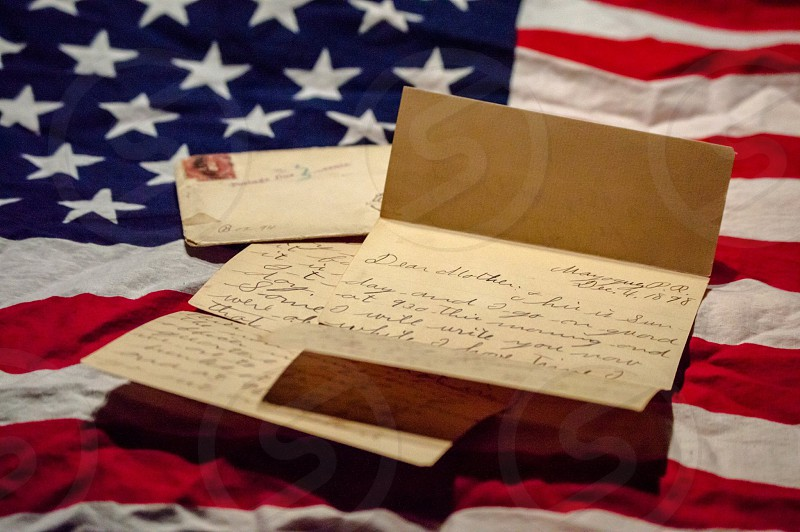 Old letter American Flag photo