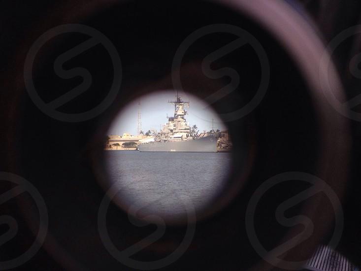 Through a focus binocular looking at USS Missouri.  photo