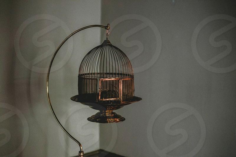 Antique/vintage birdcage in a corner. photo