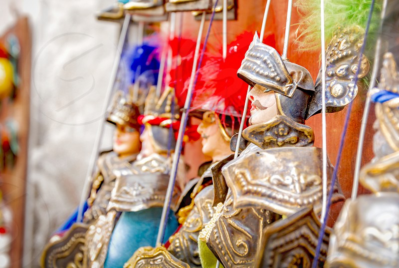 Traditional Sicilian puppets used for The Opera dei Pupi is a theatrical performance of marionettes of romantic poems frank Italy photo