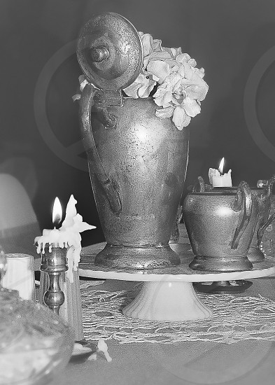 VINTAGE PHOTOS | A completely vintage wedding  centerpiece for one of the guests tables. photo