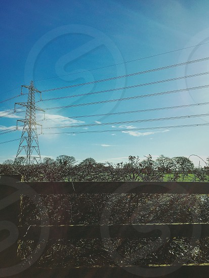 vertical fence in front of plants transmission tower under cloudy sky during daytime photo