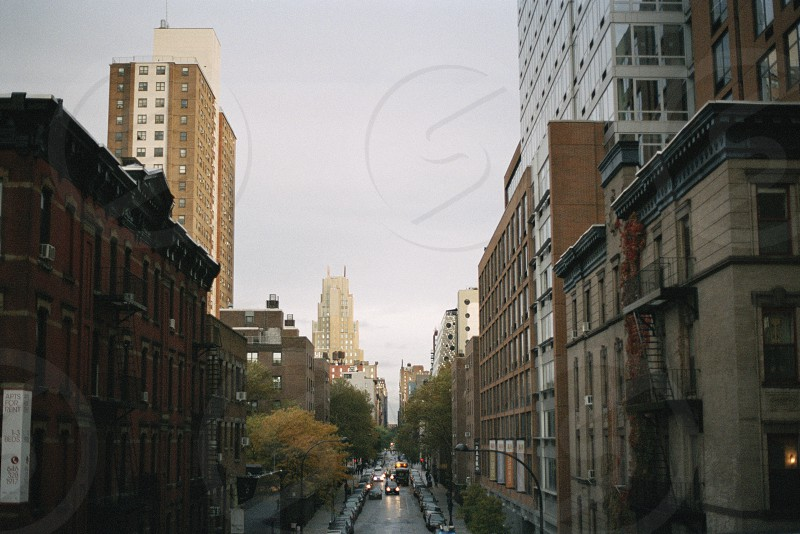 New York city cityscape buildings America USA road street photo