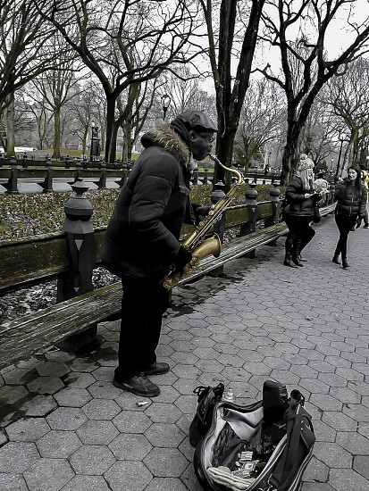 saxofone oldman outdoors Central Park photo