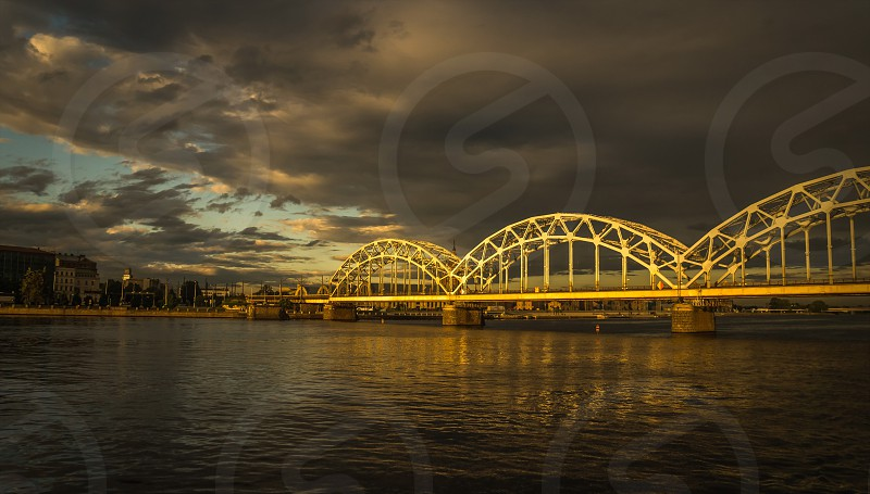 Panoramic View of a Bridge in Riga city in a summer evening photo