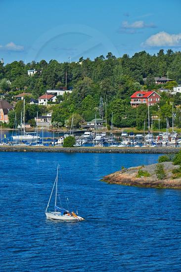 Swedish settlements on islets of Stockholm Archipelago in Baltic Sea Sweden photo