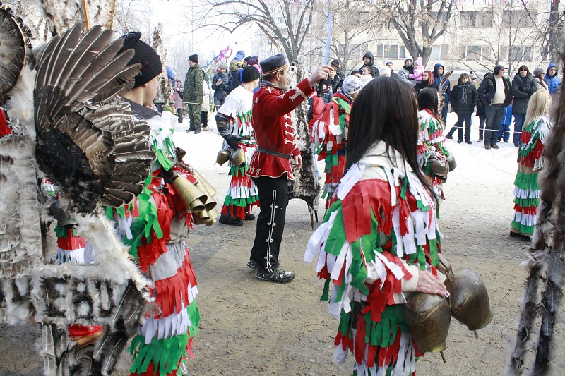 """Winter mummers festival """"Surva"""" holiday time people in traditional hand made costumes photo"""