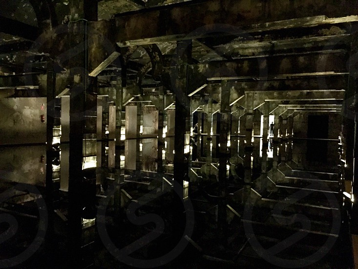Optical effect reflections mirror architecture interior industrial urban old dirty silhouette shadows dark photo
