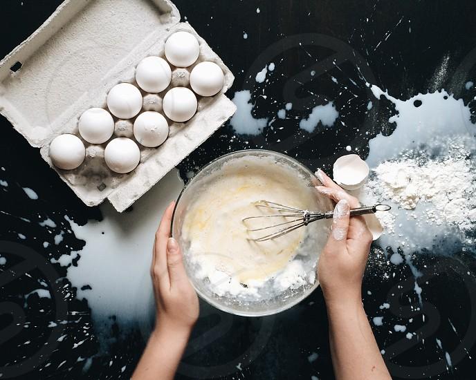 Eggs milk pancakes cooking dairy  photo