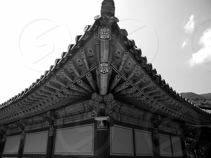 South Korea temple Buddhism symmetry angles patterns photo