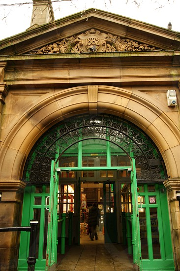 United Kingdom England Lancashire. The entrance to the market hall in Darwen. photo