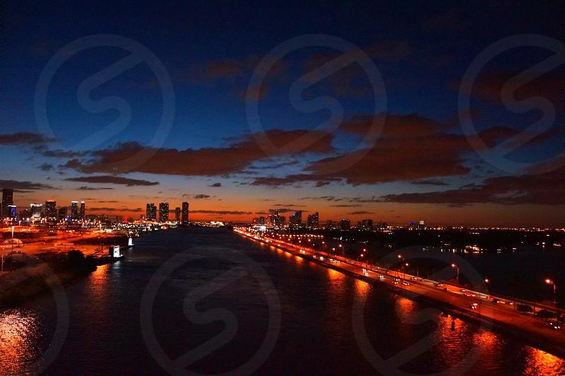 metropolitan city night lights view photo