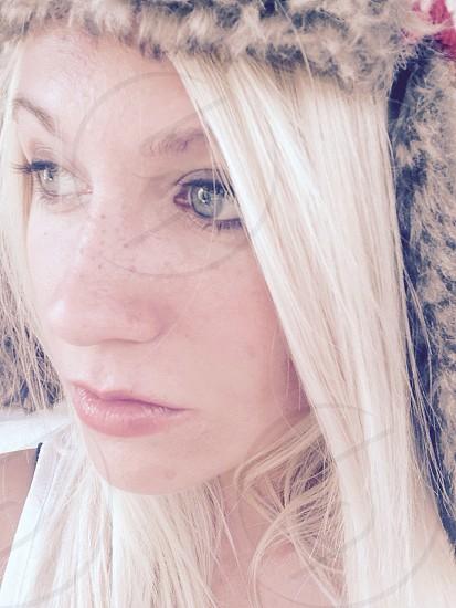Eskimo hat blonde eyes photo