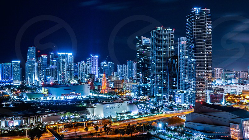 Color art large awesome beautiful landscape city street night Miami south beach downtown from above cars long exposure contrast colorful evening sky starts buildings sky scrapers modern classic urban blue and orange gators cool photo
