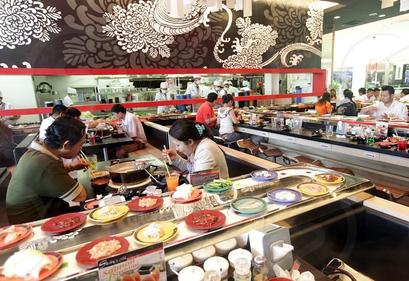 a japanese Restaurant in the city of Khorat in the Province of Nakhon Ratchasima in the Region of Isan in Northeast Thailand in Thailand.  photo