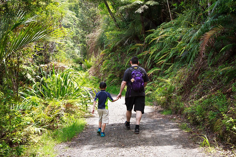 Dad and son walking through the bush together on a summer's day photo