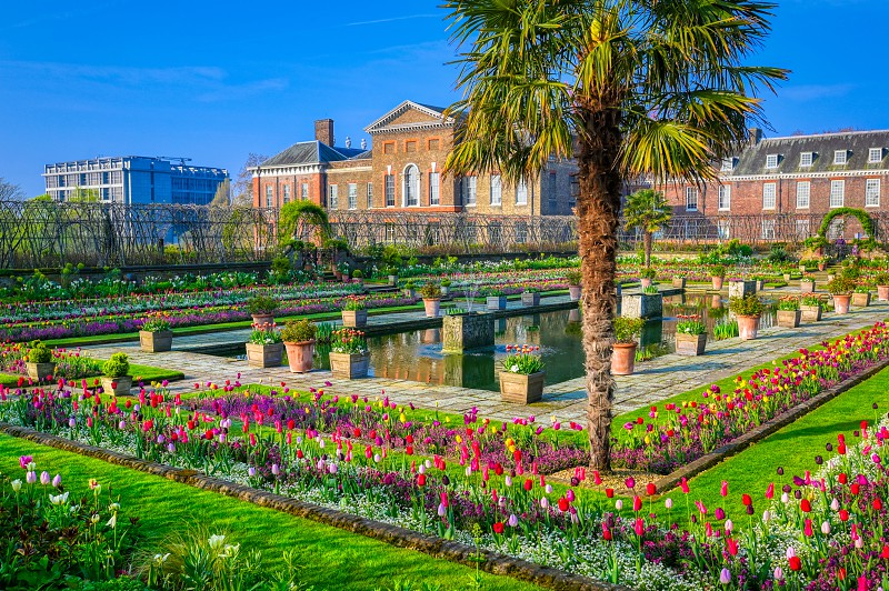 London United Kingdom - April 17 2019 : Kensington Palace gardens on a spring morning located in Central London UK.  photo