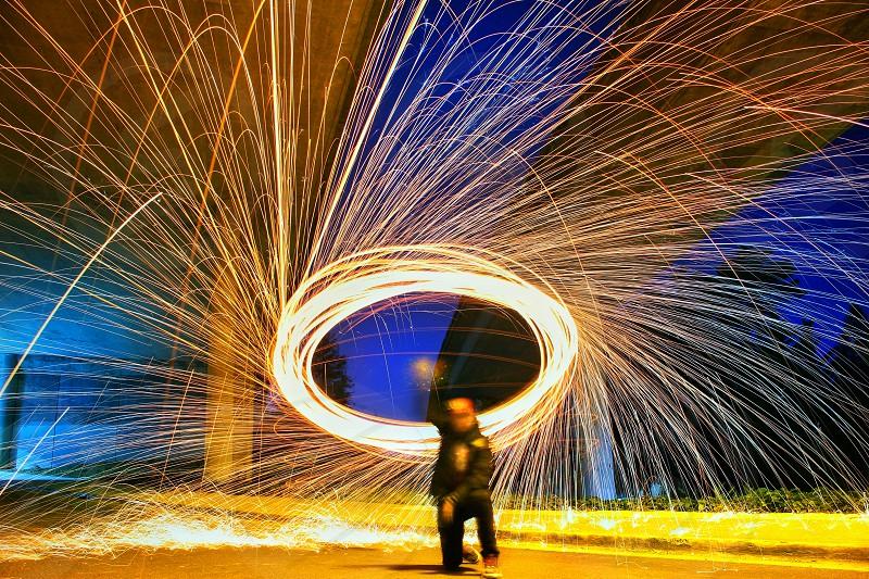 Steel Wool Sparks Oakland Bay Area Long Exposure Nightshot Street Urban photo