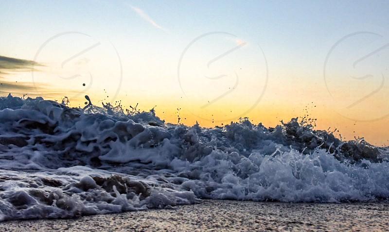 Oceanbeachwavecrashsunset photo