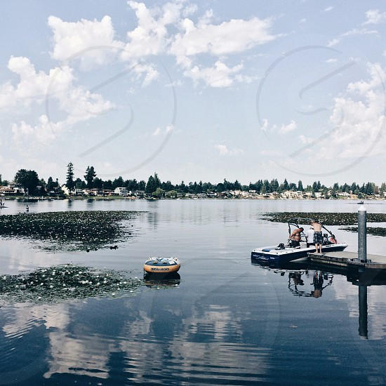 person on white and blue motorboat photo