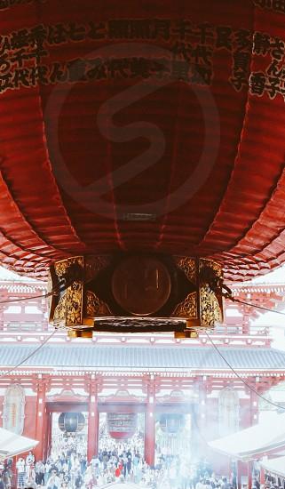 Taken in Japan.  Japan tokyo temple red giant big lantern culture hanging photo