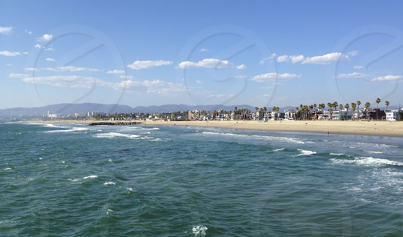 Santa Monica California coast line on a clear summer day. photo