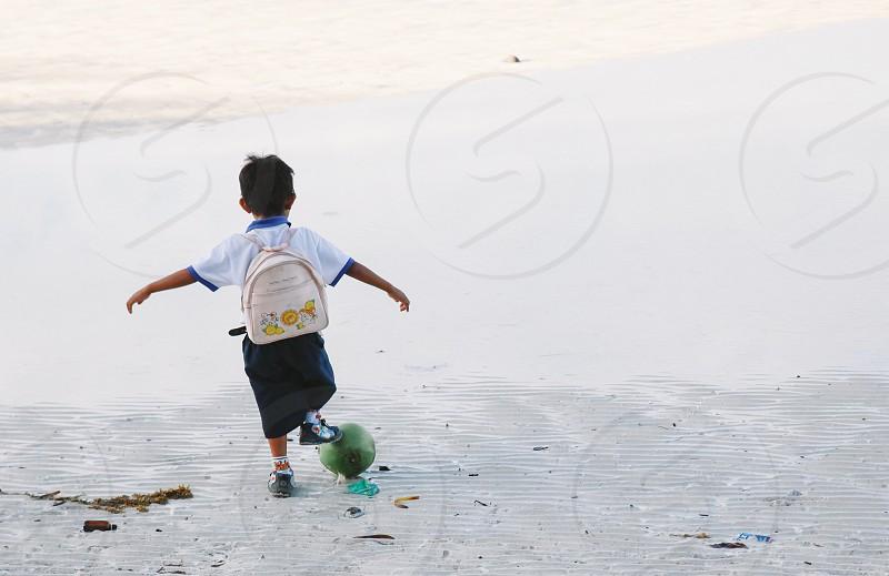 school bohol philippines child fun beach photo