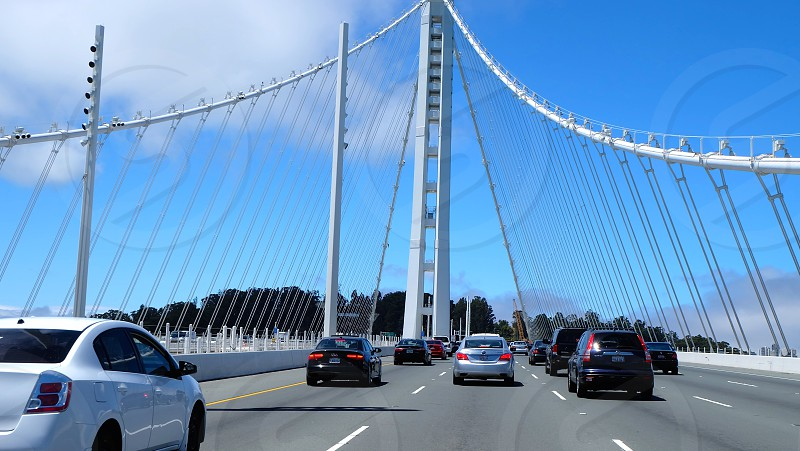 Driving across the Bay Bridge from Oakland to San Francisco. photo