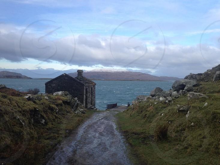 Sea view with mountains. Ardfern Argyllshire Scotland.  photo
