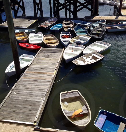 boats docked on docking area photo