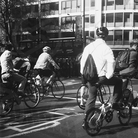 London cyclist at junction  photo